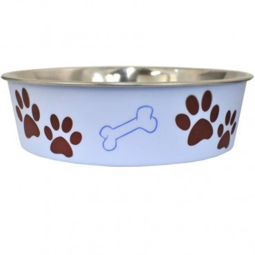 Loving Pets Stainless Steel and Light Blue Dish with Rubber Base - Small - 5.5 Diameter