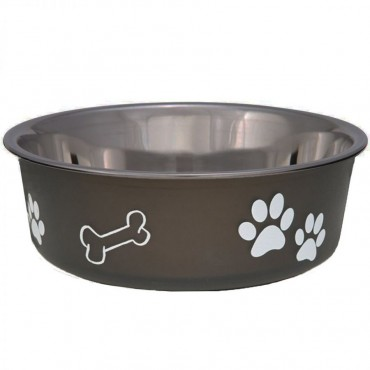 Loving Pets Stainless Steel and Espresso Dish with Rubber Base - Small - 5.5 Diameter