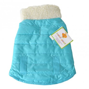 Lookin Good Reversible Puffy Dog Coat - Blue - Small - Fits 10 -14 Neck to Tail