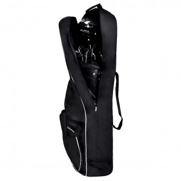 Black Foldable Golf Bag Travel Cover With Wheel