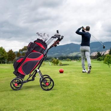Folding 4 Wheels Golf Pull Push Cart Trolley