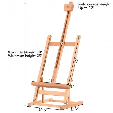Adjustable Portable Wood Tabletop Easel H - Frame For Artist Painting Display