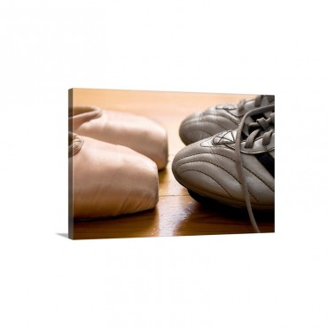 Still Life Of Ballet Shoes And Soccer Cleats Wall Art - Canvas - Gallery Wrap