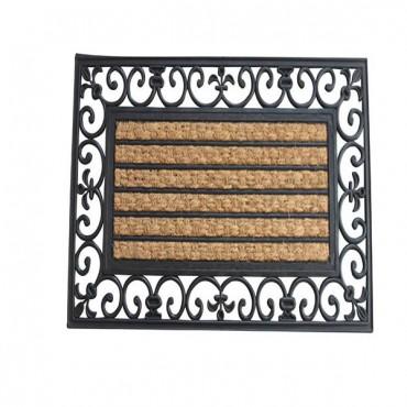 Striped Fleur-De-Lis Border Mat