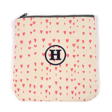 Large Personalized Women's Makeup Bag Pouch - Pink Hearts