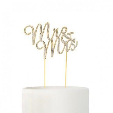 Crystal Rhinestone Mr & Mrs Cake Topper - Gold
