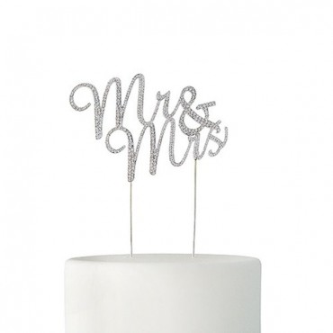 Crystal Rhinestone Mr & Mrs Cake Topper - Silver