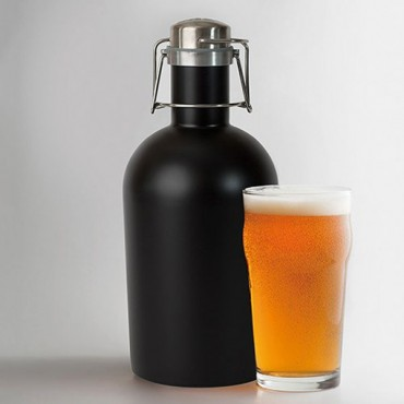 Personalized Black Stainless Steel Beer Growler – Diamond Emblem Printing