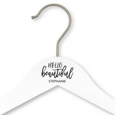 Personalized Wooden Wedding Clothes Hanger - Hello Beautiful