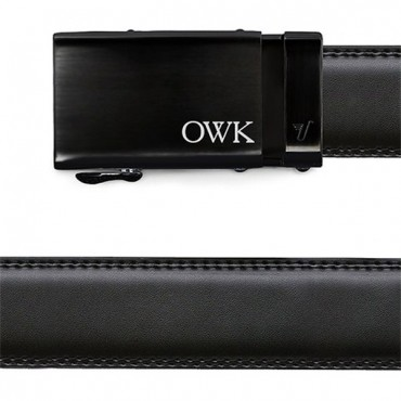 Men's Black Leather Belt - Monogrammed Black Buckle