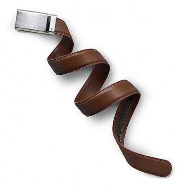 Men's Brown Leather Belt - Monogrammed Silver Buckle