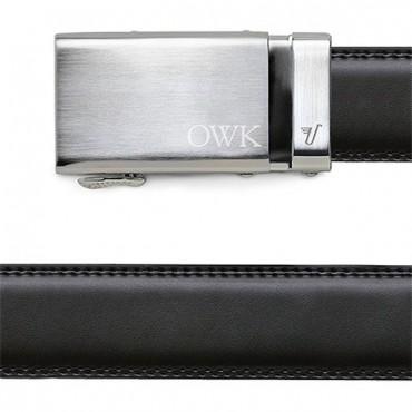 Men's Black Leather Belt - Monogrammed Silver Buckle