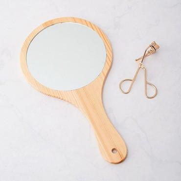 Wooden Hand Mirror - Woodland Monogram