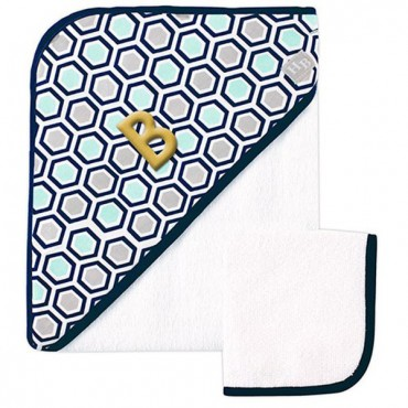 Woven Hooded Towel And Washcloth Set - Blue
