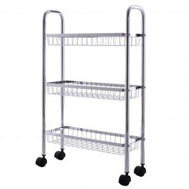 3-Tiers Metal Storage Rack Baskets Shelf