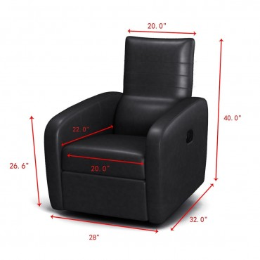 Contemporary Foldable-Back Leather Manual Recliner Sofa Chair
