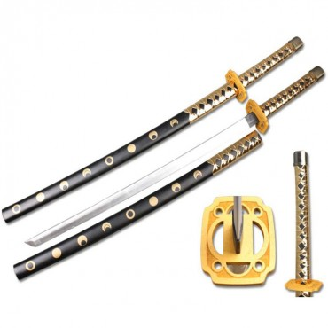 Defender High Quality Foam Samurai Sword 39 in. Gold and Black Handle with Wood Scabbard