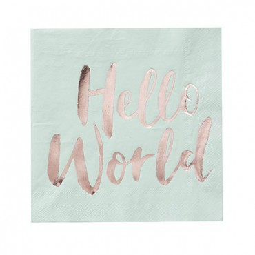Baby Shower Paper Napkins - Hello World - 3 Pices