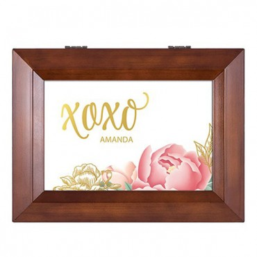 Wooden Music Box - Modern Floral Foiled Print
