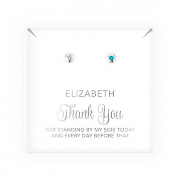 Swarovski Crystal Stud Earrings - Thank You Script