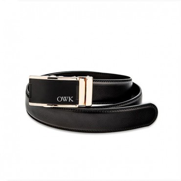 Men's Custom Leather Dress Belt Strap And Buckle - Gold