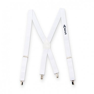 Men's Custom Monogrammed Tuxedo Suspenders Wedding Attire - White