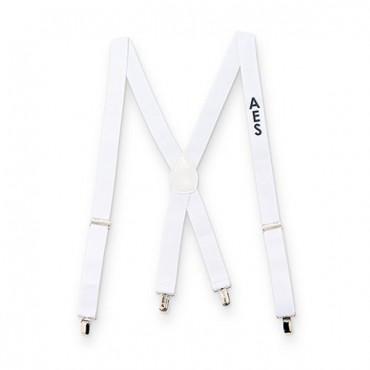 Men's Custom Monogrammed Tuxedo Suspenders Wedding Attire - White