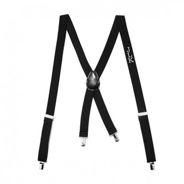 Men's Custom Monogrammed Tuxedo Suspenders Wedding Attire - Black