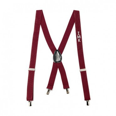 Men's Custom Monogrammed Tuxedo Suspenders Wedding Attire - Burgundy