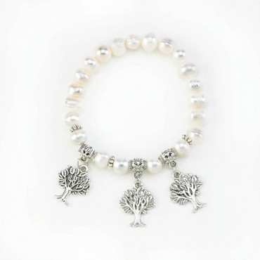 Tree Charms Pearl Stretch Bracelet