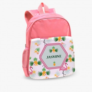 Tropical Flamingo Custom Kids Pink Backpack