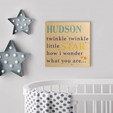 Twinkle Twinkle Little Star Personalized Wood Wall Art