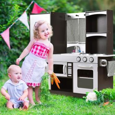 Kids Wooden Modern Kitchen Cooking Pretend Play Set