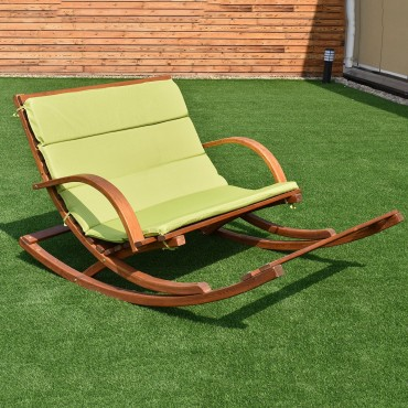 Outdoor 2 Persons Rocking Wooden Lounge Chair With Cushion