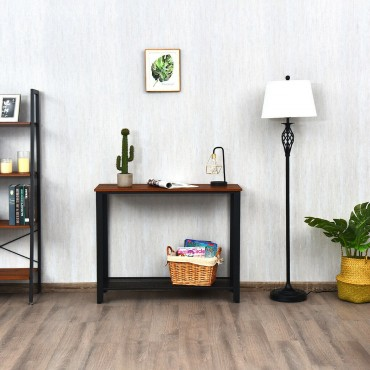 Metal Frame Wood Console Sofa Table With Storage Shelf
