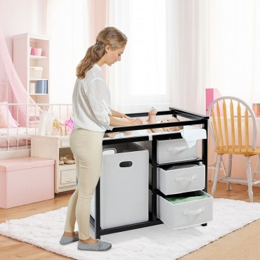2 Colors Baby Diaper Storage Changing Table W / 3 Baskets