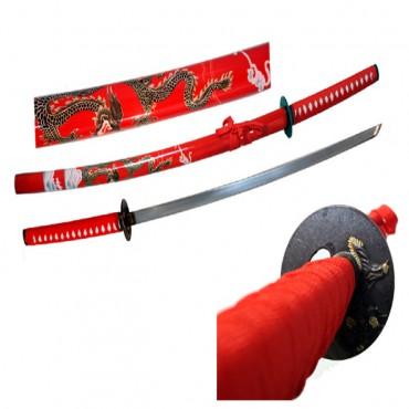 40 in. Red Collectible Dragon Katana Samurai Sword Ninja