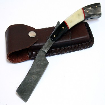 10 in. Damascus Steel Sharp Razor Blade Buffalo Horn Handle Hand Made