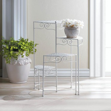 White 4 Tier Plant Stand