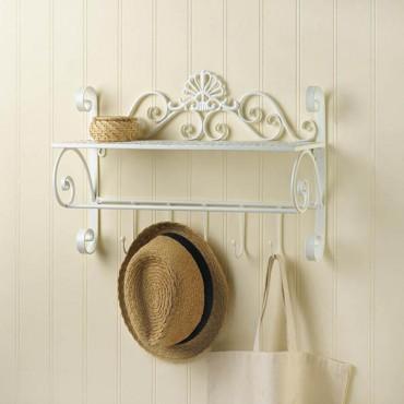 White Flourish Wall Shelf With Hooks