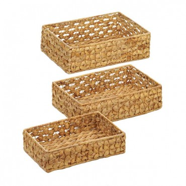 Wicker Basket Tray Set