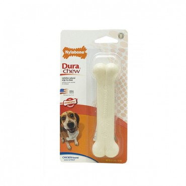 Nylabone Dura Chew Smooth White Dog Bone - Chicken Flavor - Wolf - 1 Pack - 2 Pieces