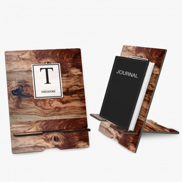 Wood Color Personalized Book and Ipad Stand