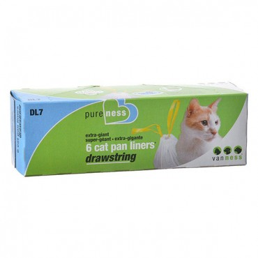Van Ness Drawstring Cat Pan Liners - X-Giant - 6 Pack - 4 Pieces