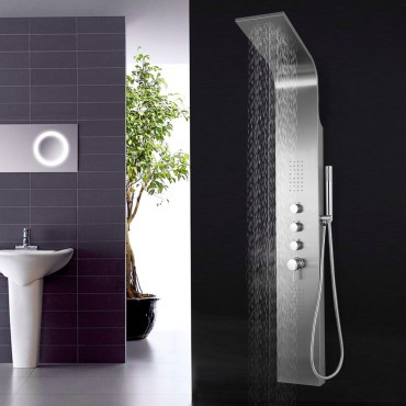 58 In. Brushed Stainless Steel Shower Panel W/3 Stage Function