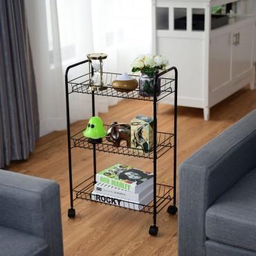 3 Tier Rolling Kitchen Utility Trolley With Storage Shelf Baskets