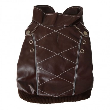 Pet Life Wuff-Rider Brown Leather Dog Bomber Jacket - X - Small - 8 Neck to Tail