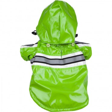 Pet Life Reflecta-Glow Adjustable and Reflective Raincoat for Dogs - Green - X - Small - 8 Neck to Tail