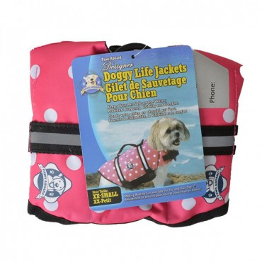 Paws Aboard Doggy Life Jacket - Pink Polka Dot - XX-Small - For Dogs 2-6 lbs