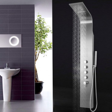58 In. Brushed Stainless Steel Shower Panel With 4 Stage Functions.
